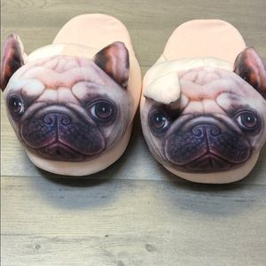NEW Pug Dog Soft Plush Slide Slipper 9.5 -10 XL